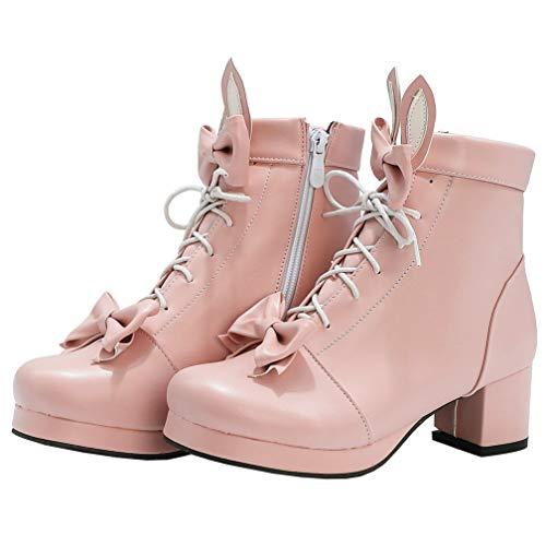 AIMODOR Schnürstiefelette Damen Plateau High Heels Blockabsatz Stiefeletten Schleife Lolita Cosplay Ankle Boots rosa 38