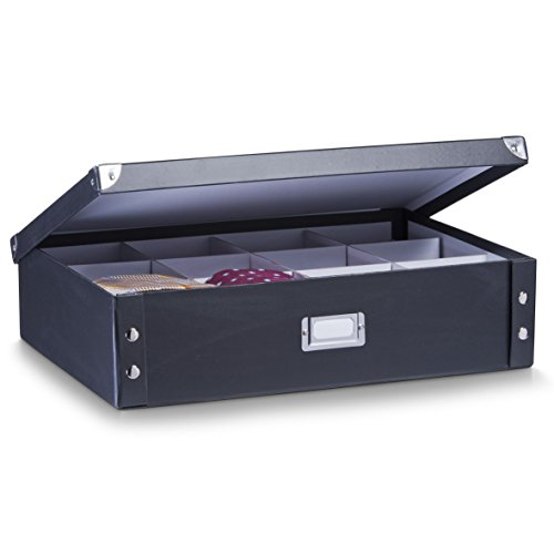 Zeller 17789 Krawatten-/Gürtelbox, Pappe, schwarz, ca. 44,5 x 31,5 x 11 cm
