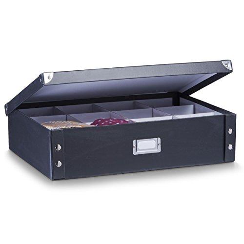 Zeller 17789 Caja para Corbatas Y Cinturones, Cartón, Cardboard, Negro, 44.5x31.5x11 cm