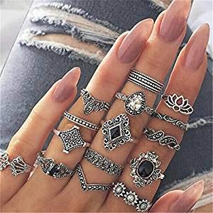 Sperrins Boho Style Vintage Punk Silver Rings Sets for Women Joint Knuckle Ring Set Plated Silver 15PCS
