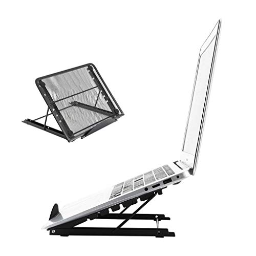 Portable Laptop Stand, Adjustable Laptop Holder, Adjustable Laptop Computer Desk Stand, Portable Foldable Laptop Riser, Height Adjustable Computer Laptop Stand, Suitable for 9 to 14' Laptops (Black)