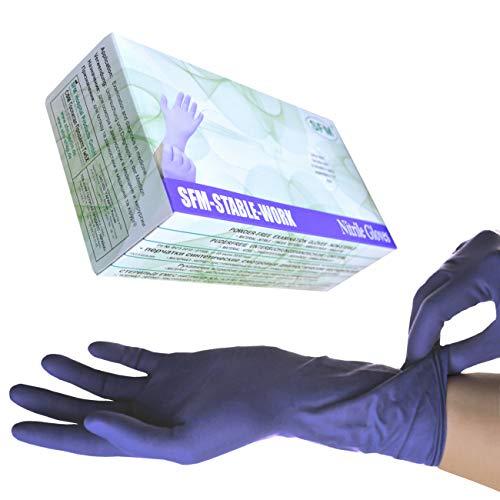 SFM ® STABLE WORK Nitril : XS, S, M, L, XL LANG&SUPERSOFT purpur blau puderfrei F-tex ACC-frei Einweghandschuhe Einmalhandschuhe Untersuchungshandschuhe Nitrilhandschuhe M (100)