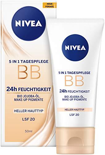 NIVEA BB 5 in 1 Tagespflege 24h Feuchtigkeit (50 ml), BB Cream für helle Hauttypen mit LSF 20, getönte Tagescreme mit Bio Jojoba-Öl & Make-up Pigmenten
