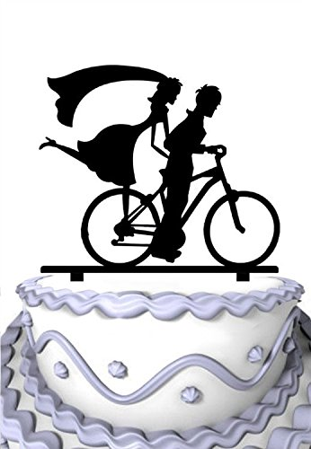 Meijiafei Bicycle Cake Topper the Groom Riding with The Bride Silhouette Toppers