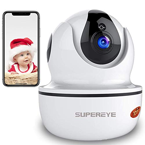 SuperEye Security Camera IP Camera 1080P WiFi Camera with HD Night Vision Remote Motion Detection Two-Way Audio Surveillance Cameras Pan/Tilt Monitor for Baby/Elder/Pet