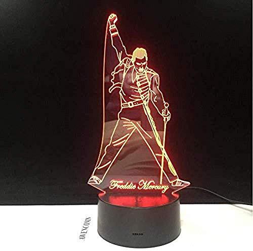 Presentazione 3D Decorazioni per la casa Luci a LED decorative Lampada da scrivania Lampada da illusione 3D Queen Freddie Mercury Lampada a LED 3D Lampada da notte Sensore di tocco Lampada da notte P