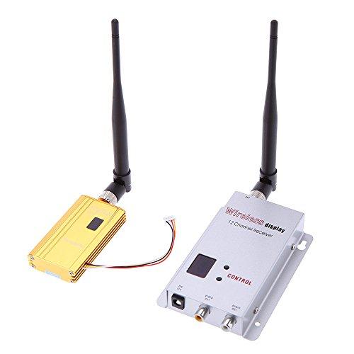 Andoer 1500 mW 1.2G Wireless-8CH Sender 12CH Empfänger Digitalkamera VCD / DVD-Spieler AV Audio & Video Übertragungssystem für Displayer-Monitor FPV OSD