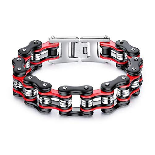 Vioness, Pulsera de acero inoxidable para hombre, 22 cm de ancho, diseño de cadena de bicicleta o moto, color negro, rojo y plateado, 3 tonos