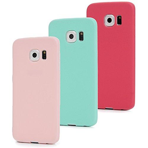 MAXFE.CO 3X Cover per Samsung Galaxy S6 Edge, Custodia Morbida Silicone TPU Flessibile Gomma Case Ultra Sottile Cassa Protettiva per Samsung Galaxy S6 Edge - Rosso + Rosa + Menta Verde