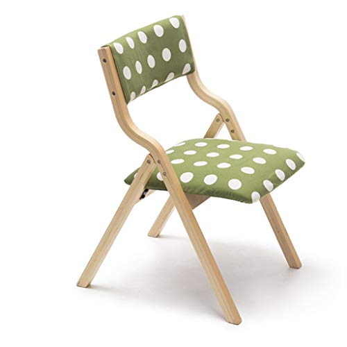 Furniture Stol/klapstoel van hout met rugleuning, kan worden gebruikt om te leren, op kantoor, eetstoel, kinder-make-up voor thuis en op kantoor, groen gestippeld