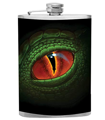 Red Eye Green Dragon Flask - Vinyl Wrapped 8oz Stainless Steel Flask - Made in the USA, Great for gifts