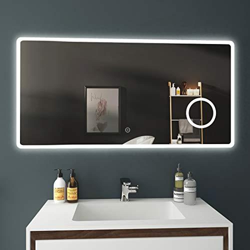 EMKE Badezimmerspiegel 120x60cm LED Badspiegel mit Beleuchtung kaltweiß Lichtspiegel mit Touchschalter IP44 energiesparend