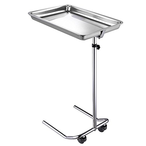 Mobile Instrument Stand with Removable Tray Single Post Stand Height-Adjustable 22lbs Capacity