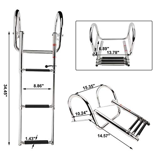 NovelBee 3 Step Inboard Boat Ladder,Stainless Steel Telescoping Step Ladder Folding Dock Ladder for Marine Boat Yacht Swimming Pool