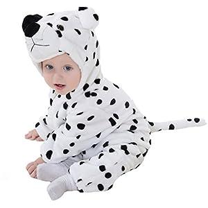 エルフ ベビー(Fairy Baby)豹ちゃん着ぐるみ ベビー服秋冬 フード付きロンパース ジャンプスーツ(size:90,ホワイト)