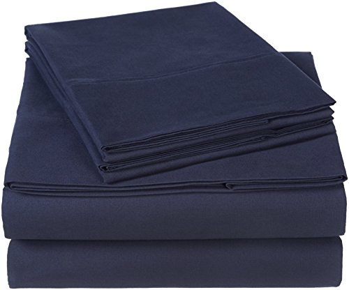 Pinzon 300 Thread Count Organic Cotton Bed Sheet Set - Queen, Navy Blue