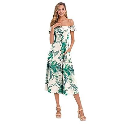 Muranba Womens Dresses Off Shoulder Button Pocket Printed Dress Beach Long Dress