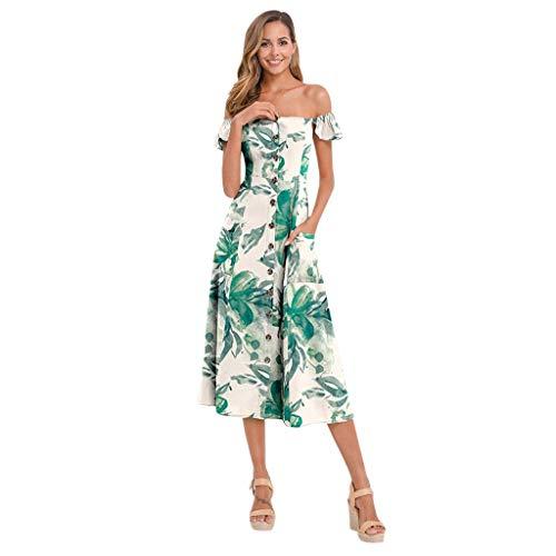 GOKOMO Damen Schulterfreies, bedrucktes Kleid mit Knopfleiste Beach Long Dress(A,Large)