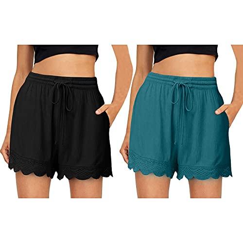 MORCHAN Femmes Comfy Casual Taille élastique avec Cordon de Serrage ensachés Shorts