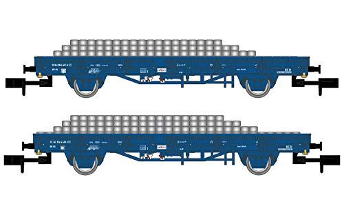 Arnold HN6401 NS, 2-unit set platte wagens met zijwanden, blauwe lever,