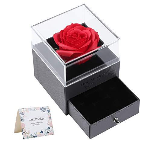 Rose Confezione Regalo di Gioielli, GuKKK Confezione Regalo di Gioielli in Rosa Eterna, Regalo di San Valentine, per Donne per la Festa Della Mamma, Anniversario per lei