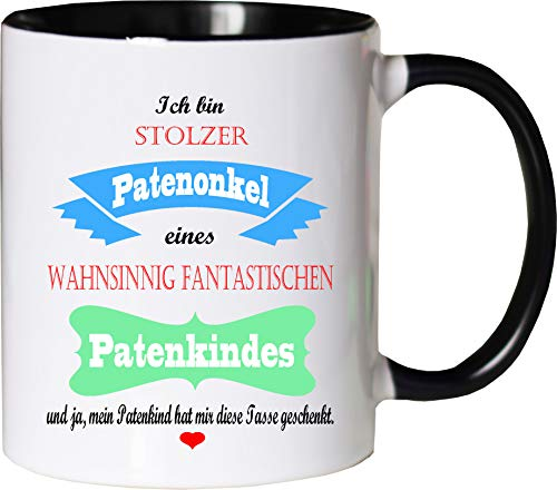 Mister Merchandise Becher Tasse Stolzer Patenonkel eines wahnsinnig fantastischen Patenkindes - Es hat Mir die Tasse geschenkt Kaffeetasse Bedruckt Kaffeebecher Geburtstagsgeschenk Weiß-Schwarz