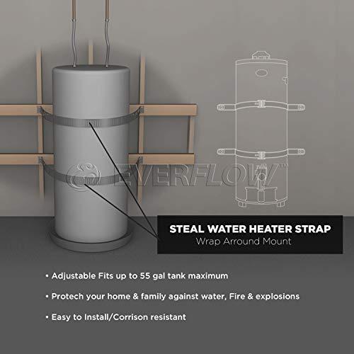 Everflow GWHSE55 Seismic Water Heater Restraining Strap, Galvanized Steel, 55 gallon