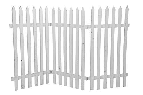 Deko-Zaun Holz-Zaun Jäger-Zaun 3 Zaunelemente a 40 cm zum klappen 60 cm hoch weiss shabby Optik