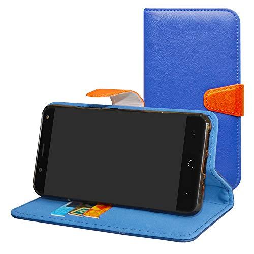 Labanema BQ Aquaris VS/Aquaris V Hülle Case,Lederhülle PU Leder Flip Tasche Handy Schutzhülle Handyhülle mit [Ständer Funktion] Card Holder Kunstleder Cover für BQ Aquaris VS/Aquaris V-Blau