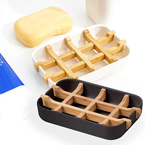 2 STK Seifenschale Bambus,Seifenhalter Bambus,Seifengitter Naturholz Seifenablage aus Holz Seifendose Abtropfgitter Seifenhalterung für Seife Badezimmer Dusche Küche