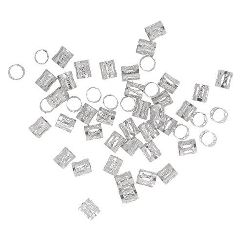 Paquet de 50pcs Perles de Cheveux Tresse Réglables Réutilisables Barrettes Magiques pour Coiffure Diy - Argent