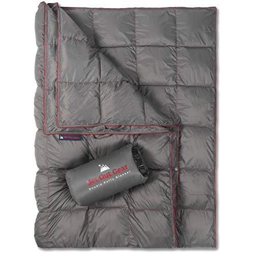 Get Out Gear Double Puffy Camping Blanket - Extra Puffy, Packable, Lightweight and Warm   Ideal for Outdoors, Travel, Stadium, Festivals, Beach, Hammock   Water-Resistant Camp Quilt (Gray/Burgundy)