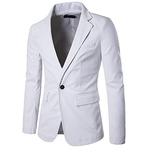 "WSLCN blazer masculino de couro sintético inteligente, casual, slim fit, formal, para negócios, vintage, terno, Branco, Bust 39.4"" (Asian S)"