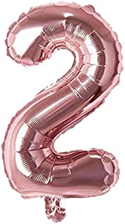 "Rozi Decoration Numbers Foil Balloon 16"" Inch -(Pack of one Unit) Rose Gold (Rose Gold-2)"