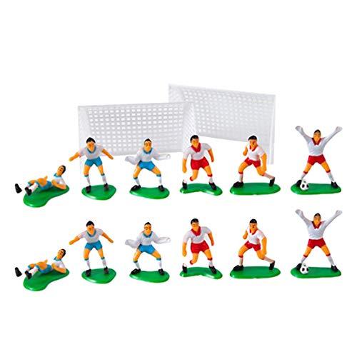 DOITOOL 16pcs Soccer Team Figurine Plastic Miniature Football Guys Boys Net Model Photo Prop Athlete Action Figure Cake Topper for Children Kids