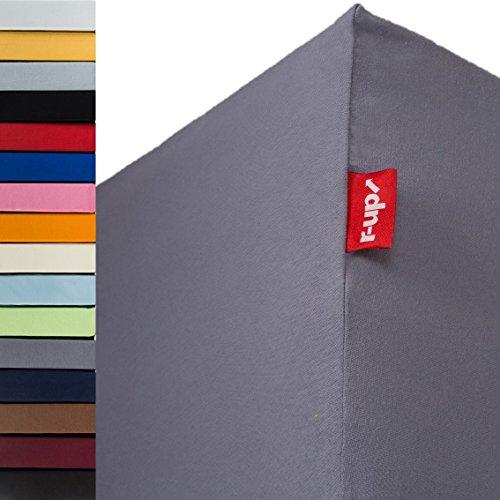 r-up Passt Spannbettlaken 180x200-200x220 bis 35cm Höhe viele Farben 100% Baumwolle 130g/m² Oeko-Tex stressfrei auch für Boxspringbetten (dunkelgrau)