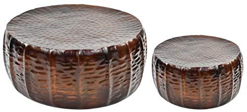 Möbelbörse 2er Set Metall Couchtisch | Tisch Wohnzimmertisch Sofatisch Beistelltisch Loungetisch | Hammerschlag Kupfer Aluminium | Kupferfarben rund