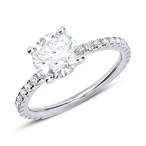 Moderner Verlobungsring aus Silber mit Zirkoniabesatz VR0040