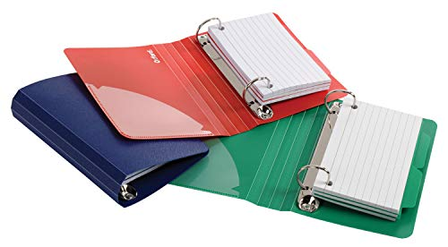 "Oxford Index Card Binder with Dividers, 3"" x 5"", Color Will Vary, 50 Cards,1 Binder (73570),Assorted (Blue, Green, Red)"
