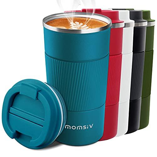 MOMSIV Thermobecher,Kaffeebecher Thermo mit Auslaufsicherem Deckel,Thermobecher- Isolierbecher,510ml Edelstahl Travel Mug, Coffee to go Becher für heißes und kaltes Wasser Kaffee Tee
