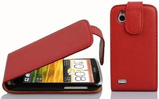 Cadorabo DE-100105 HTC Desire X Mobile Phone Case Textured Faux Leather Flip Design Red