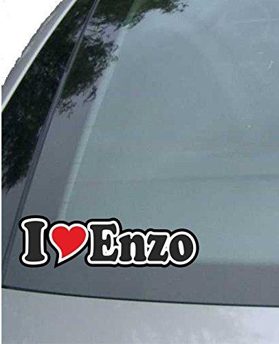 INDIGOS UG - sticker - autosticker I Love Heart - Ik hou van met hart 15 cm - I LOVE Enzo - Auto LKW Truck - Sticker met namen van het kind van de manvrouw