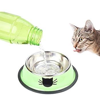 Legendog Bol Chats, 3 Pcs Bols de Chat Imprimé, Chat en Acier Inoxydable Antidérapant Canin Chat, Bol de Nourriture pour Chats Chat … (Multicolore)