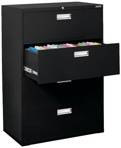Sandusky Lee 600 Series Lateral File Steel 4-Drawer Cabinet, 36' Width x 53-1/4' Height x 19-1/4' Depth, Black - LF6A364-09