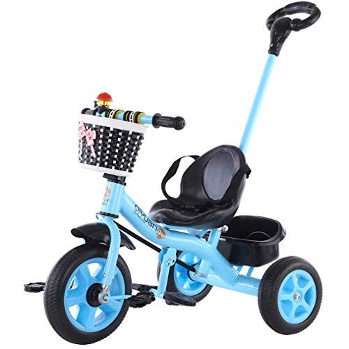 HKX Triciclo para niños, Triciclo de Paseo 3 en 1 con Mango de Empuje extraíble, Placa de pie retráctil, Adecuado para 1 a 5 años, Azul