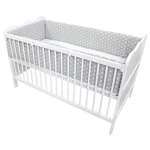 TupTam Babybett Bettumrandung Lang Gemustert, Farbe: Sterne Grau, Größe: 360x30cm (für Babybett 120x60)