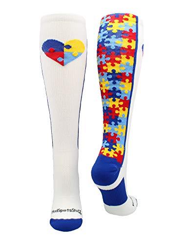 MadSportsStuff Puzzle Heart Autism Awareness OTC Socks (White/Royal, Large)