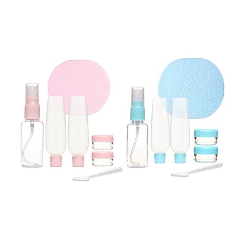 ROHANS 7 PC Air Travel Bottle Set - Perfect Size for Hand Luggage Liquids Cream - Airport Security Approved Clear Plastic Bag Included with Sponge (Blue)
