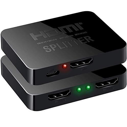Splitter HDMI 1 en 2 salidas, 1 x 2 divisor HDMI con 1 cable USB, separador HDMI 1 en 2 salidas, divisor HDMI 4K 3D 1080P [2 salidas diferentes] para Xbox, PS4, PS3, DVD