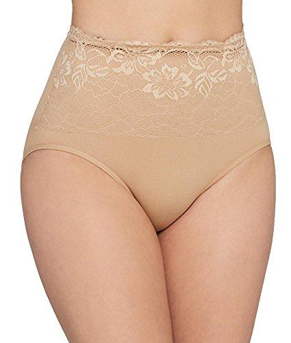 Ahh By Rhonda Shear Women's Seamless Brief with Lace Overlay, Nude, Medium